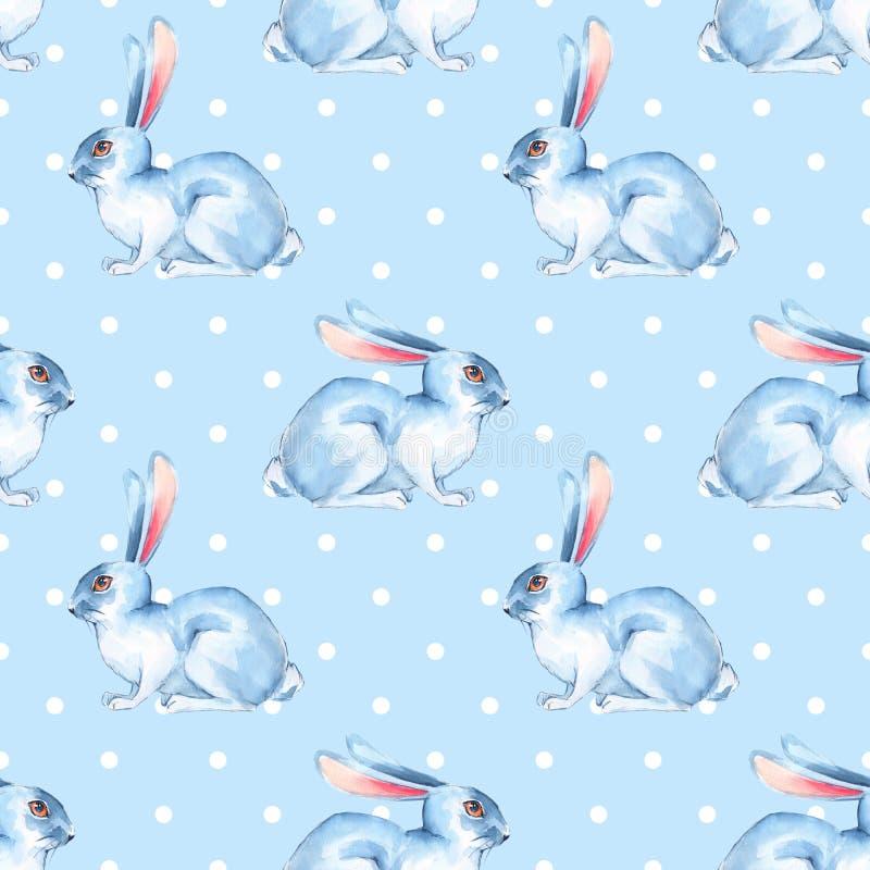 无缝的样式用白色兔子3 皇族释放例证