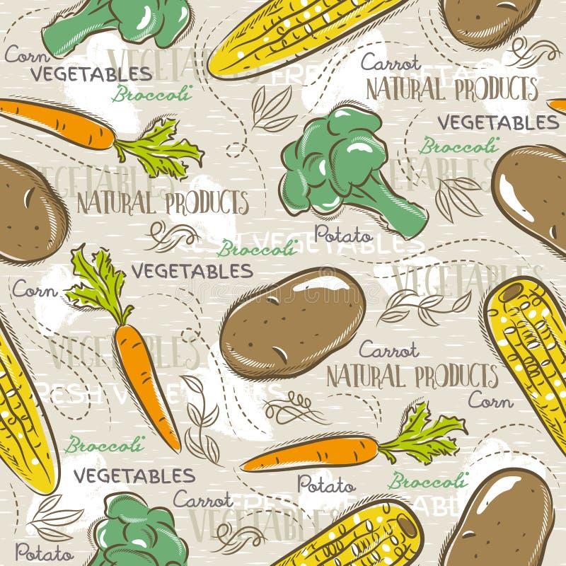 无缝的样式用硬花甘蓝、玉米和土豆 向量例证