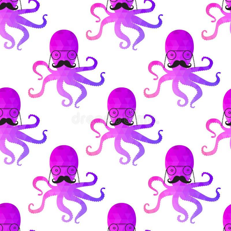 无缝的样式用章鱼 皇族释放例证