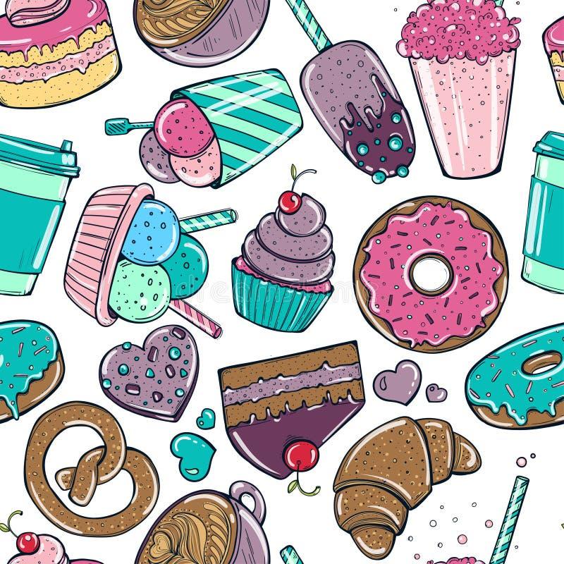 无缝的样式用糖果、油炸圈饼甜冰淇凌和其他鲜美元素 皇族释放例证