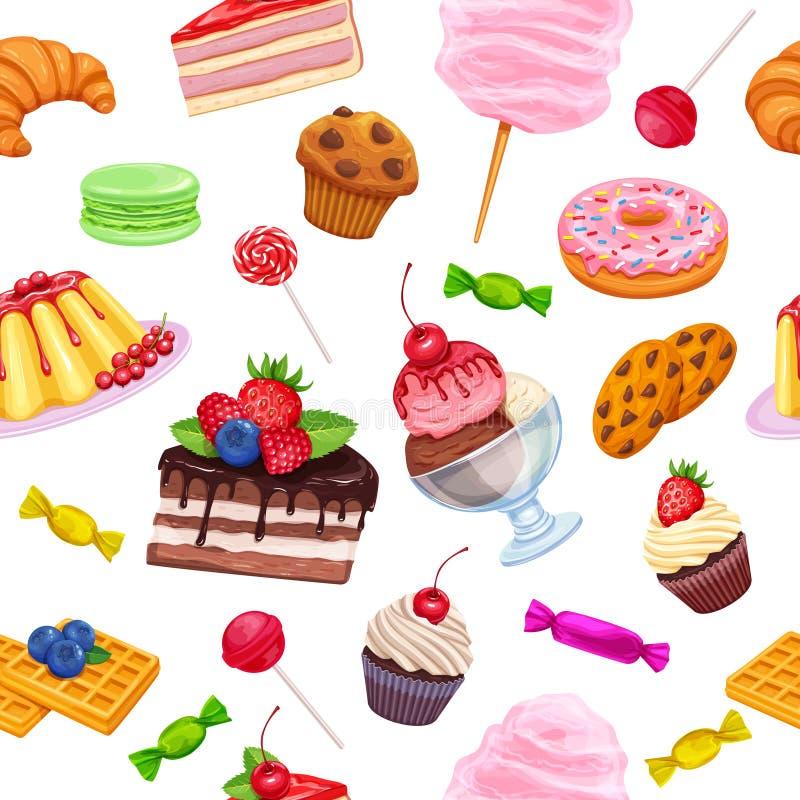 无缝的样式用糖果店和甜点 向量例证