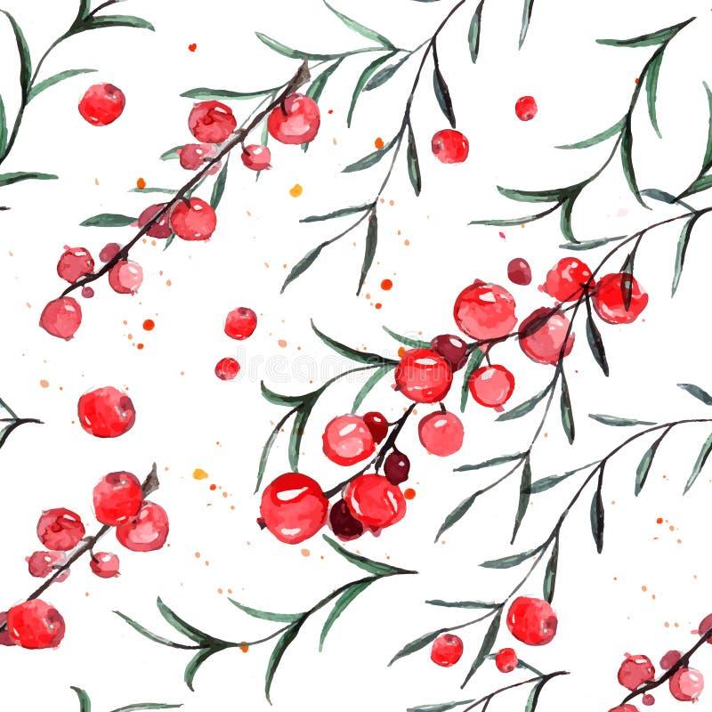 无缝的样式用红浆果和迷迭香 水彩铺磁砖了背景 皇族释放例证