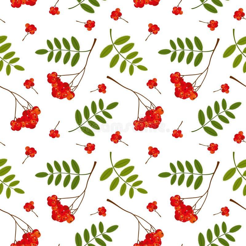 无缝的样式用红色和橙色花楸浆果和叶子 也corel凹道例证向量 向量例证