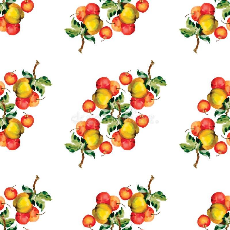 无缝的样式用红色苹果和叶子 也corel凹道例证向量 免版税库存图片