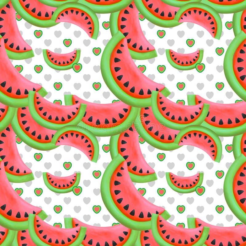 无缝的样式用红色西瓜 图库摄影