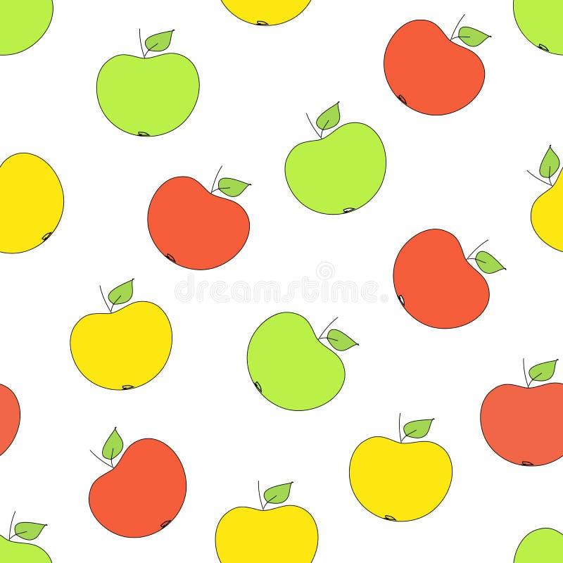 无缝的样式用苹果用在白色背景的苹果 库存例证