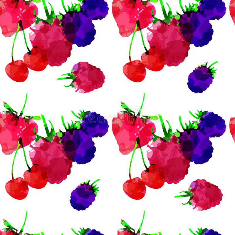无缝的样式用草莓、莓、黑莓、樱桃、莓果与污点和污点在白色背景 o 向量例证