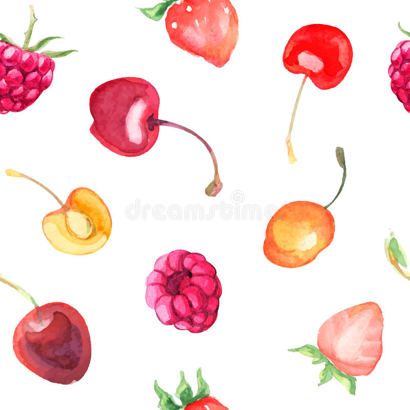 无缝的样式用莓,甜樱桃 向量例证