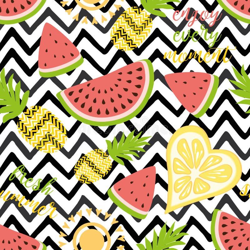 无缝的样式用菠萝西瓜明亮的夏天果子我背景果子织品和装饰的混合设计 皇族释放例证