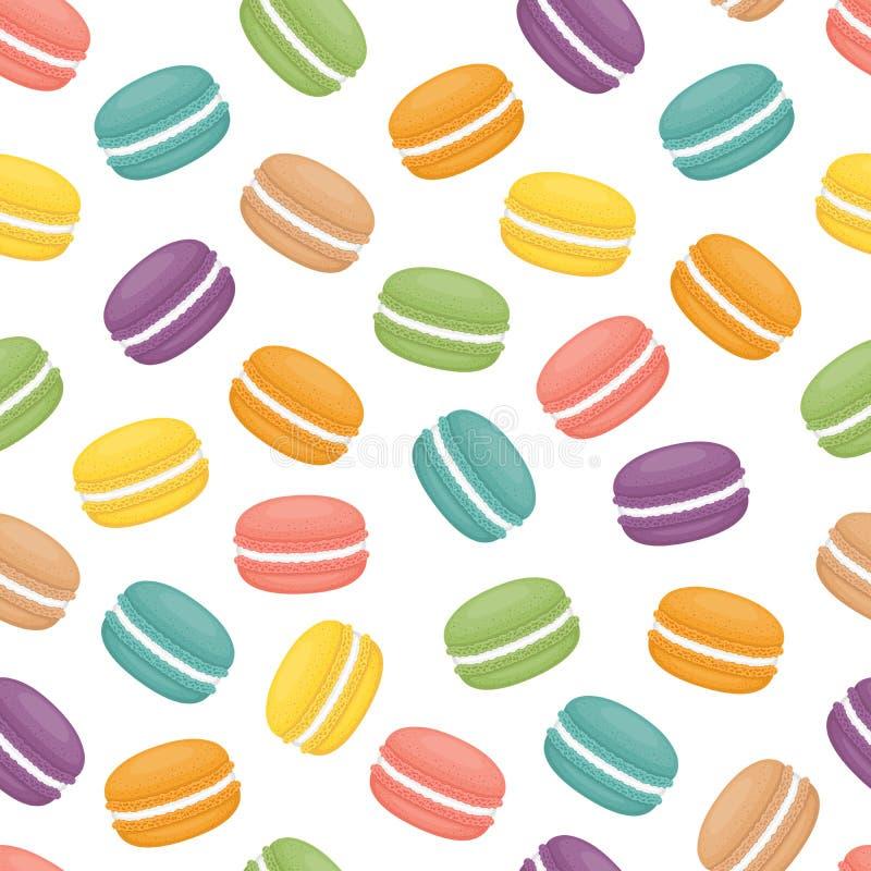 无缝的样式用蛋白杏仁饼干 五颜六色的macarons蛋糕 平的st 向量例证