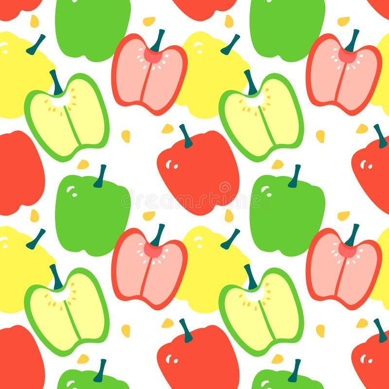 无缝的样式用辣椒的果实-红色,黄色和绿色甜椒 库存例证