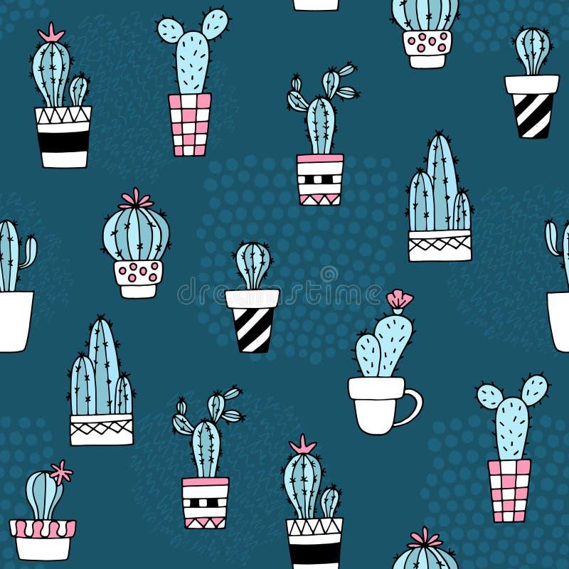 无缝的样式用逗人喜爱的仙人掌和手拉的纹理 为织品,纺织品完善 向量背景 向量例证