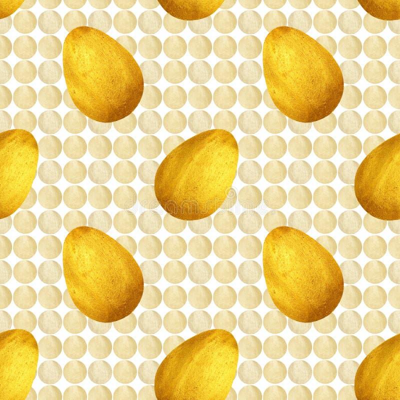 无缝的样式用金黄鸡蛋和白色珠色圈子在白色背景 向量例证