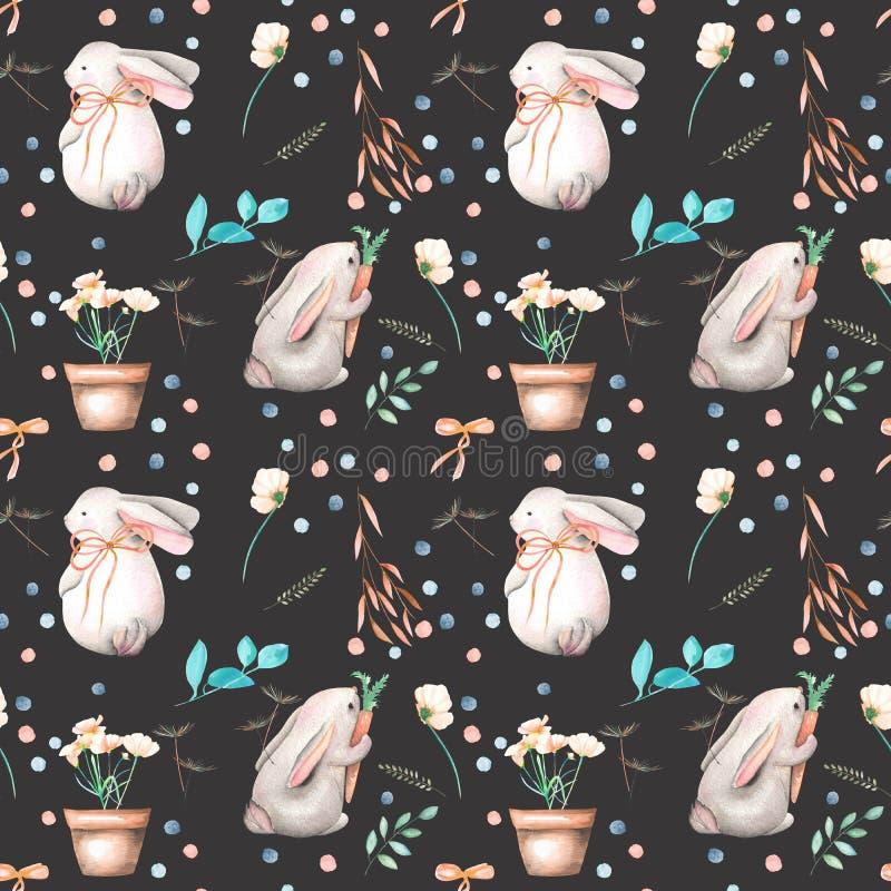无缝的样式用水彩兔子、花卉元素和花在罐 向量例证