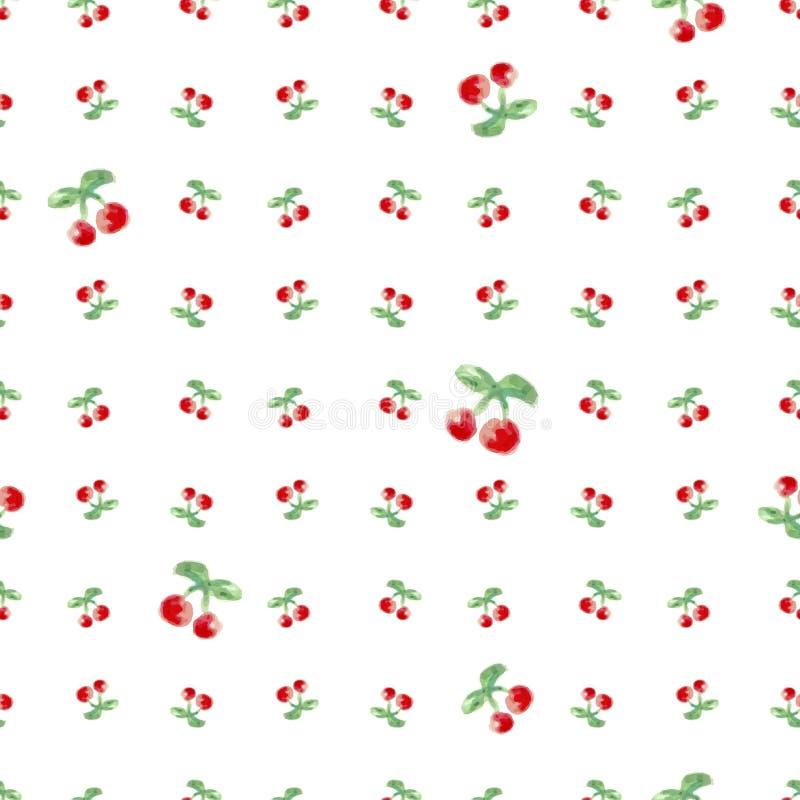 无缝的样式用水彩樱桃 不尽的重复的印刷品背景纹理 织品设计和墙纸传染媒介illustrati 库存例证