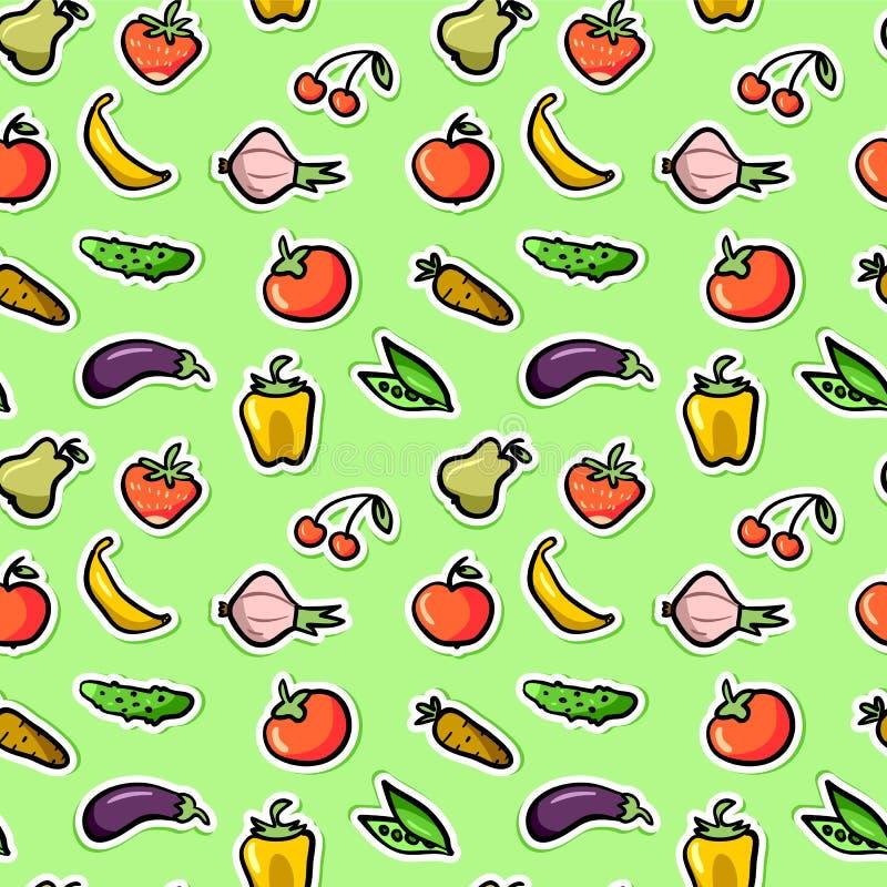 无缝的样式用水果和蔬菜 库存例证