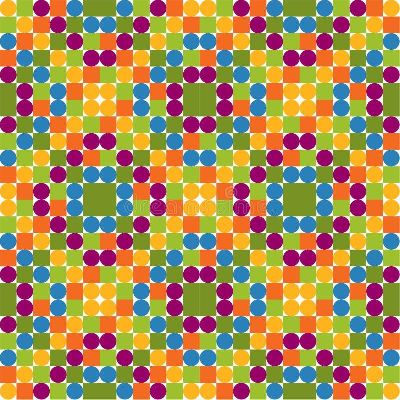 无缝的样式由五颜六色的圈子和正方形,明亮做成 库存例证