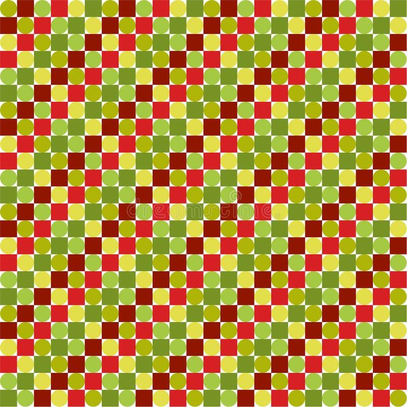 无缝的样式由五颜六色的圈子和正方形,明亮做成 皇族释放例证