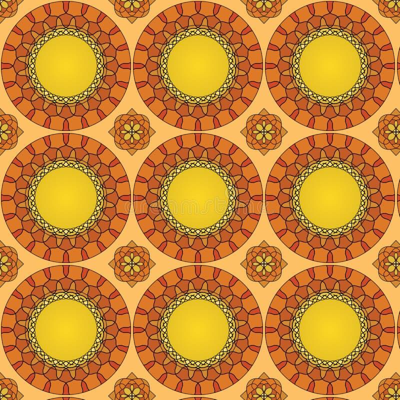 无缝的样式由五颜六色的马赛克,抽象装饰背景,瓦片装饰品模板制成 库存例证