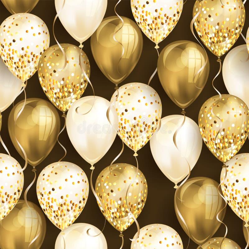 无缝的样式由发光的您的设计的金现实3D氦气气球制成 有闪烁和丝带的光滑的气球,完善 库存例证