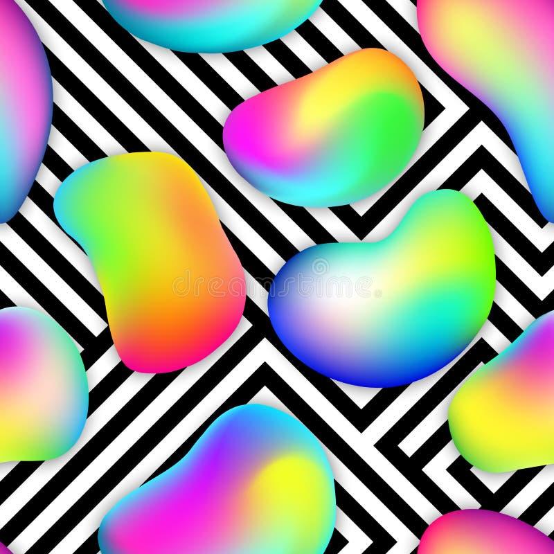 无缝的样式由多彩多姿的泡影和可变的形状做成 与另外液体的抽象几何背景 皇族释放例证