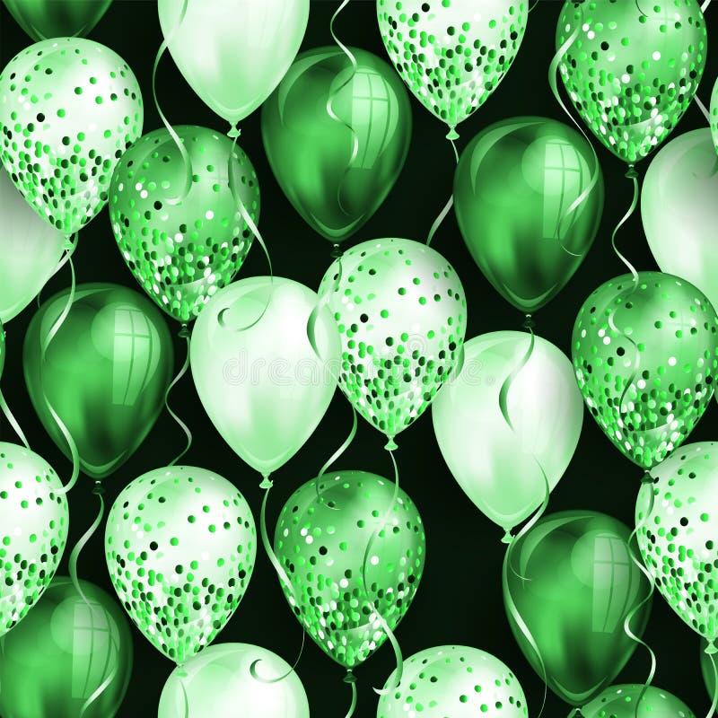 无缝的样式由您的设计的发光的绿色现实3D氦气气球制成 有闪烁和丝带的光滑的气球, 皇族释放例证
