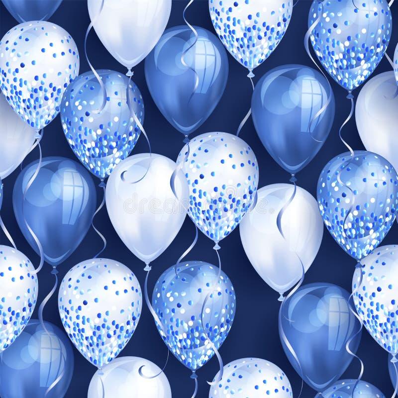 无缝的样式由您的设计的发光的蓝色现实3D氦气气球制成 有闪烁和丝带的光滑的气球,完善 库存例证