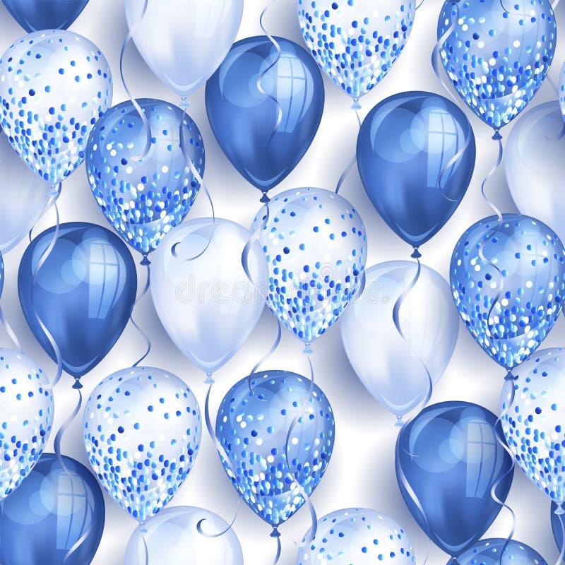 无缝的样式由您的设计的发光的蓝色现实3D氦气气球制成 有闪烁和丝带的光滑的气球,完善 皇族释放例证