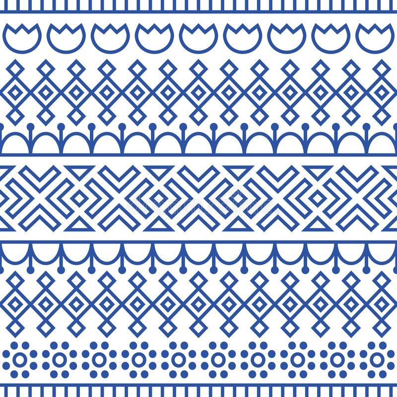 无缝的样式由斯堪的纳维亚人,芬兰民间艺术启发了 北欧蓝色和白色背景 重复的装饰 皇族释放例证