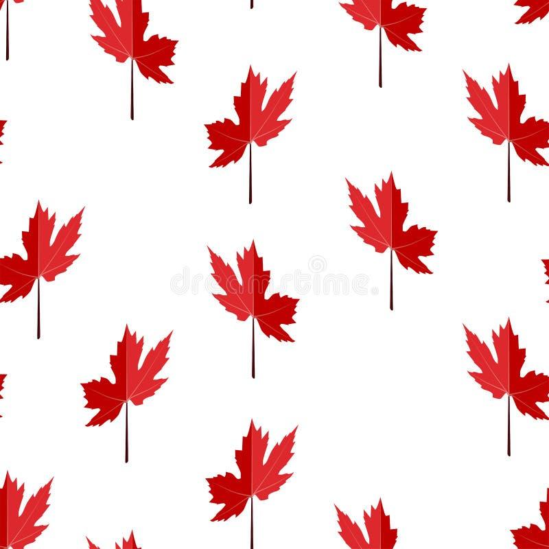 无缝的样式由红色枫叶制成,加拿大的标志 库存照片