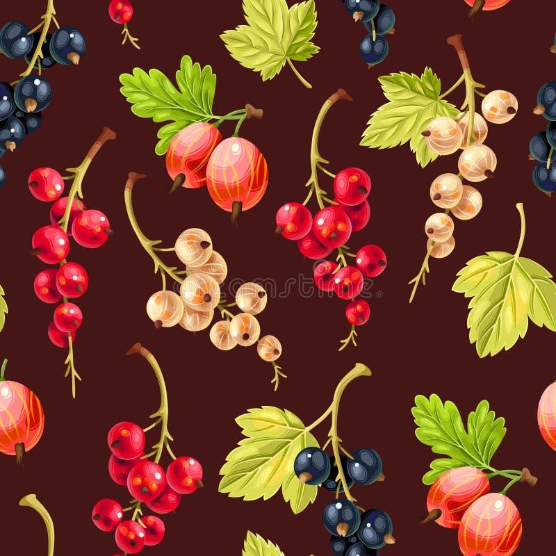 无缝的样式白色和红浆果莓果 向量例证