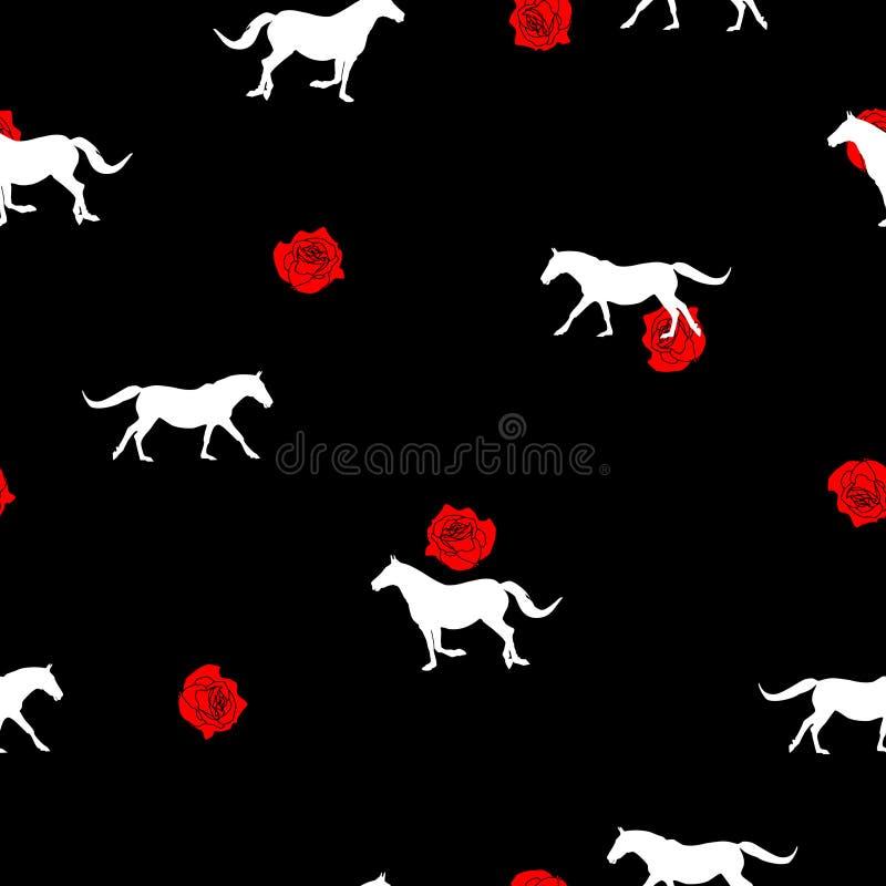 无缝的样式白马剪影,在黑色的小红色玫瑰 向量例证