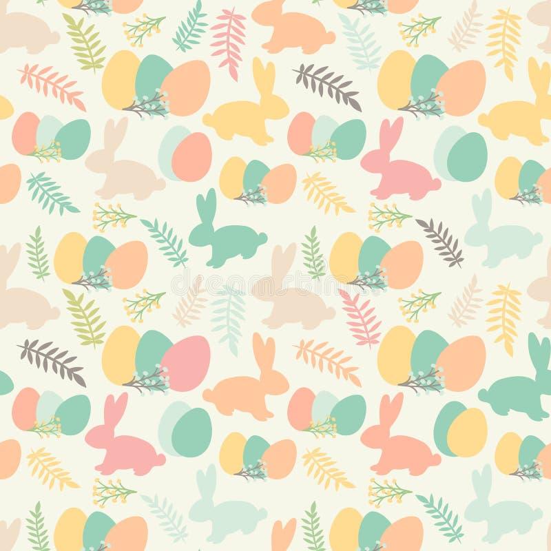 无缝的样式的例证与花,兔宝宝和东部的 库存例证