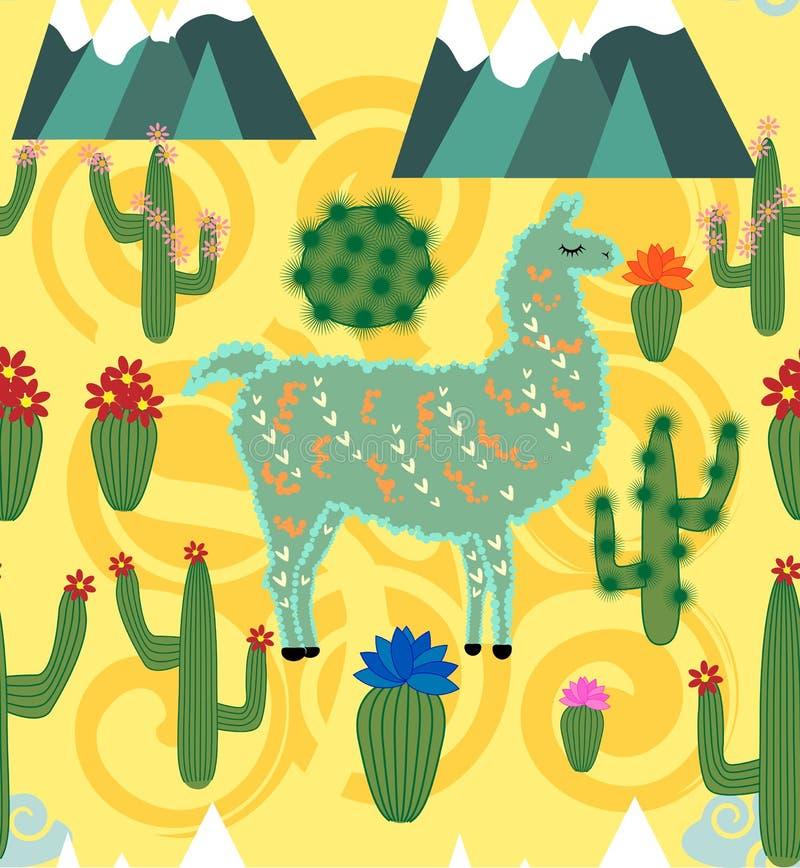 无缝的样式的例证与逗人喜爱的动画片骆马羊魄的与在桃红色背景的仙人掌和设计元素在平的动画片 库存例证