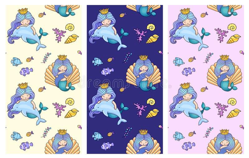 无缝的样式的汇集与逗人喜爱的小的美人鱼,海豚,鱼的 在海运之下 向量例证