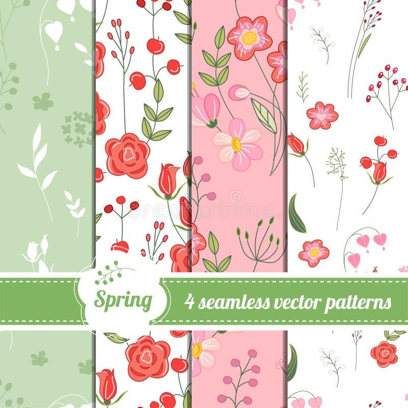 无缝的样式的汇集与风格化逗人喜爱的玫瑰和野花的 向量例证