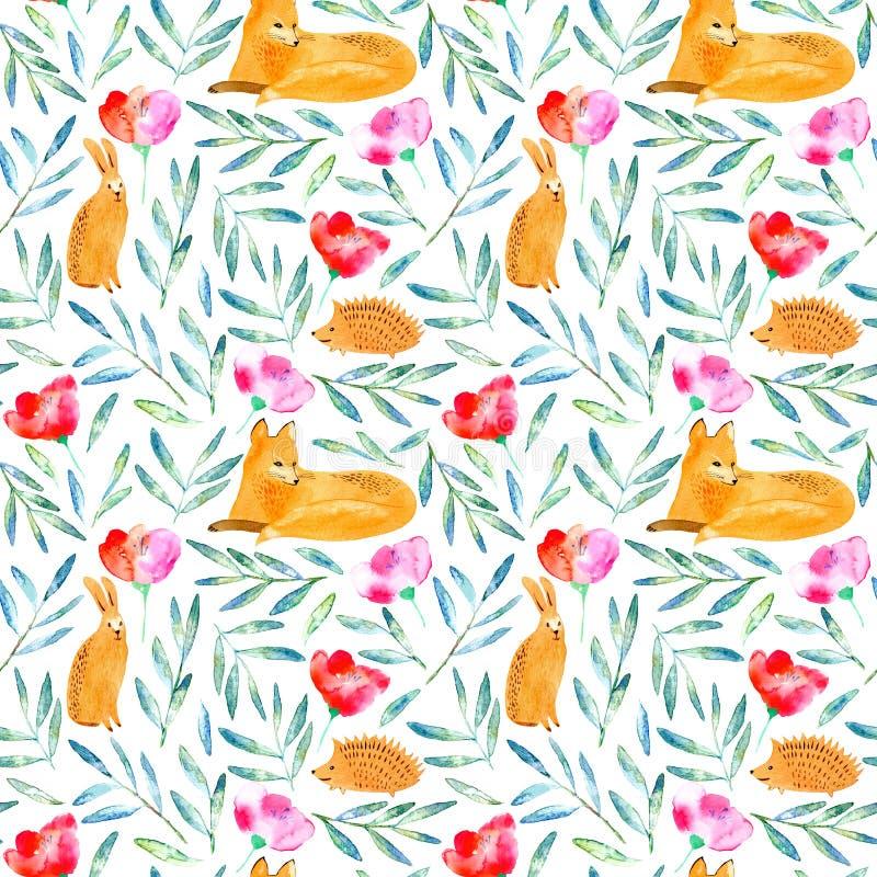 无缝的样式的狐狸、猬,野兔和花卉 库存例证