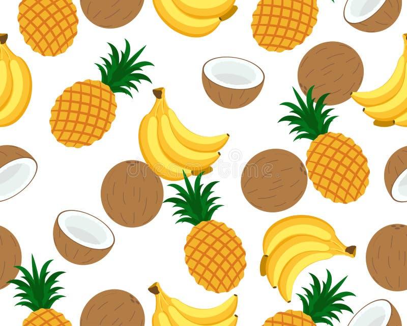 无缝的样式的许多热带水果 向量例证