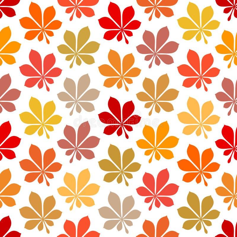 无缝的样式秋天生叶黄褐色红色桔子 库存例证