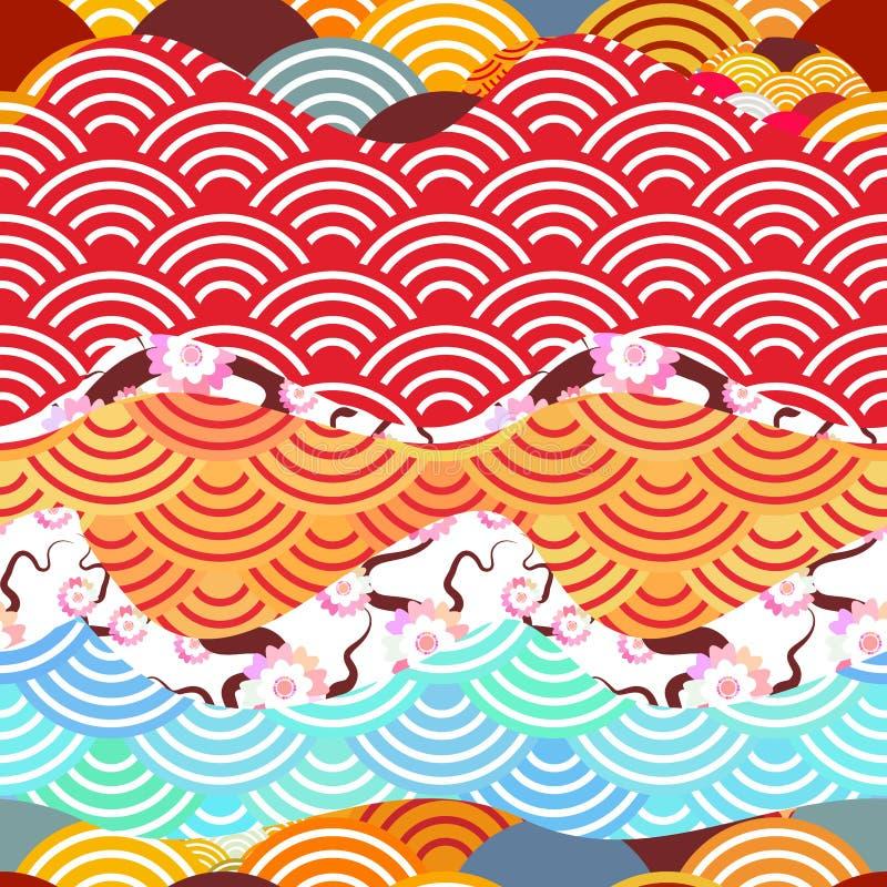 无缝的样式称简单的自然背景用日本人佐仓花桃红色樱桃,波浪圈子样式橙色红褐色的bur 向量例证