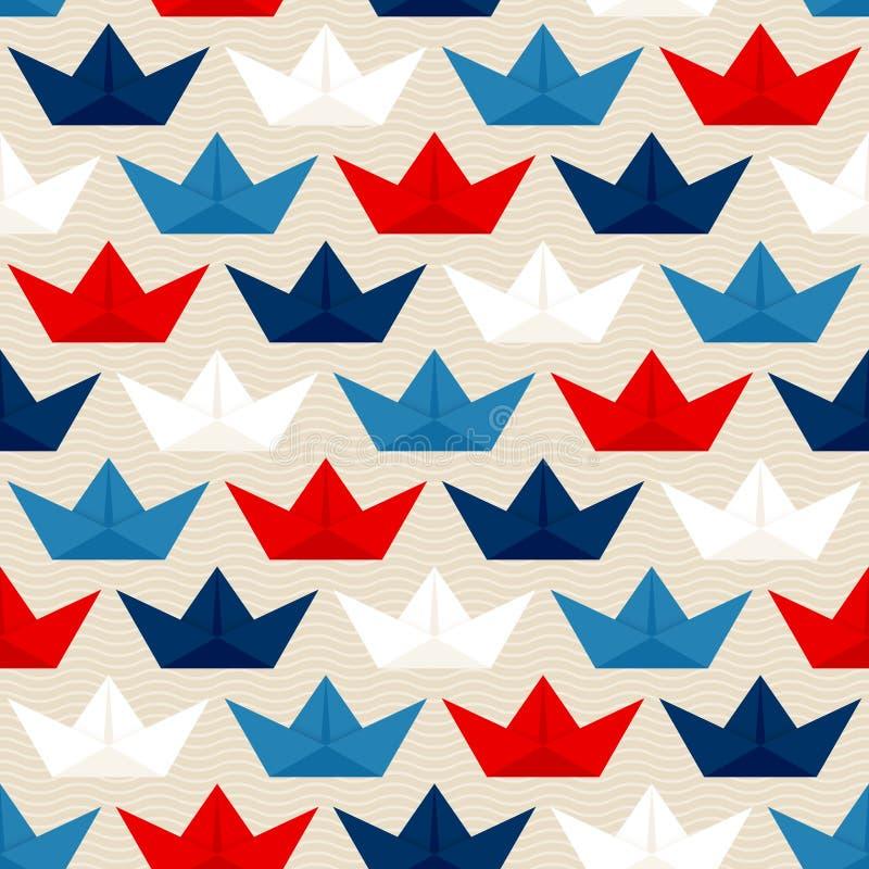 无缝的样式纸小船蓝色红色白色背景灰棕色 向量例证