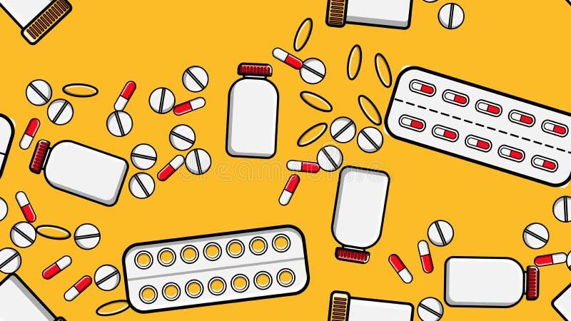 无缝的样式纹理反复医学片剂药片糖衣杏仁压缩纪录罐头与医学维生素药物的组装 皇族释放例证