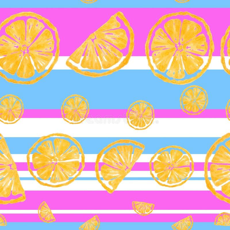 无缝的样式绘画用在桃红色和蓝色背景的黄色柠檬 向量例证