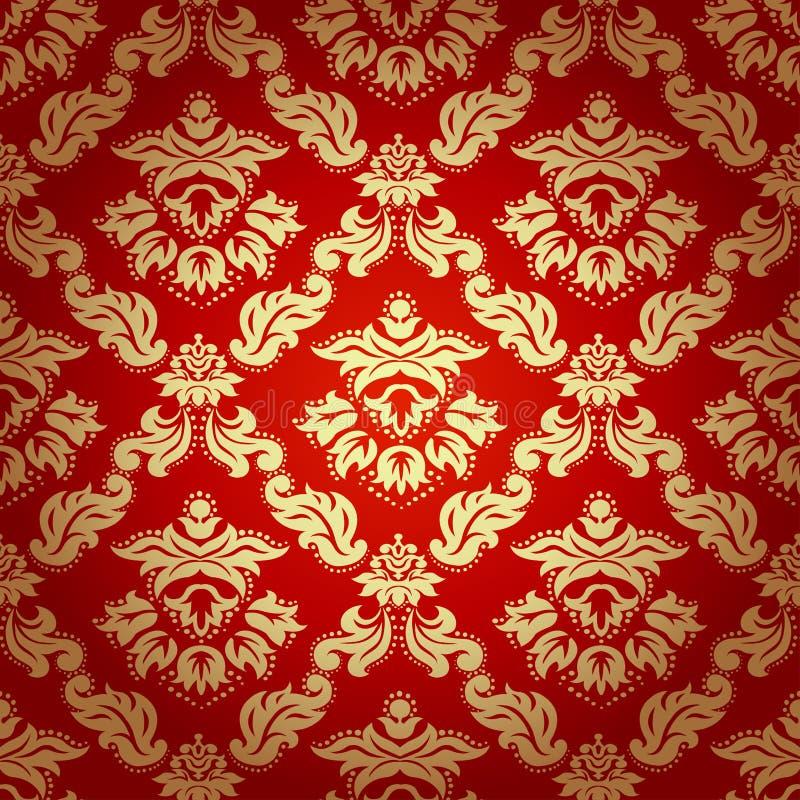 无缝的样式背景。锦缎墙纸。 向量例证