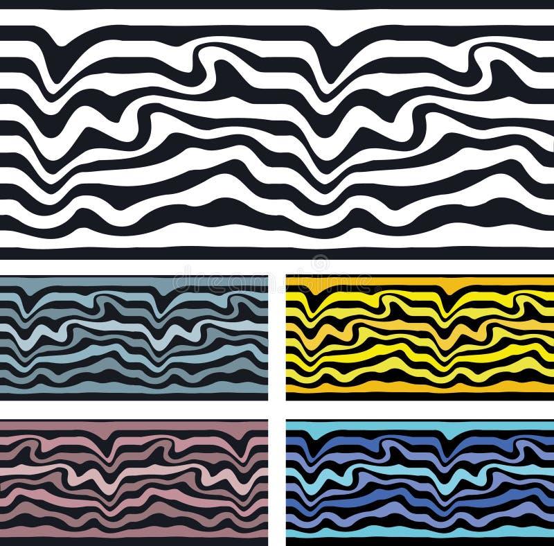 无缝的样式背景斑马和波浪 向量例证