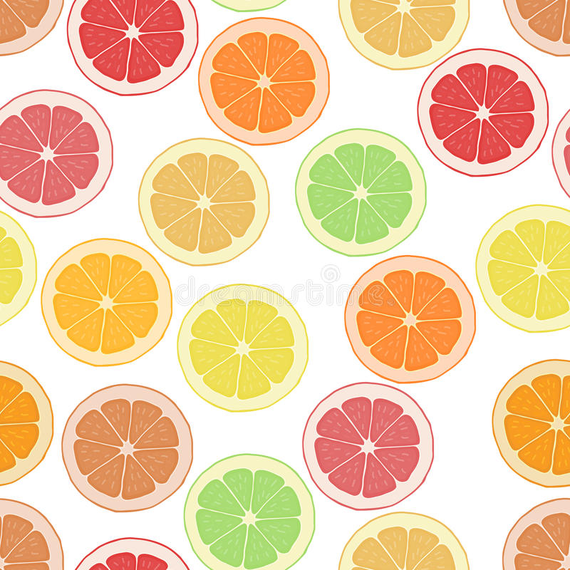 无缝的样式背景柑橘 墙纸果子 传染媒介热带可口 切柠檬、桔子和葡萄柚 向量例证