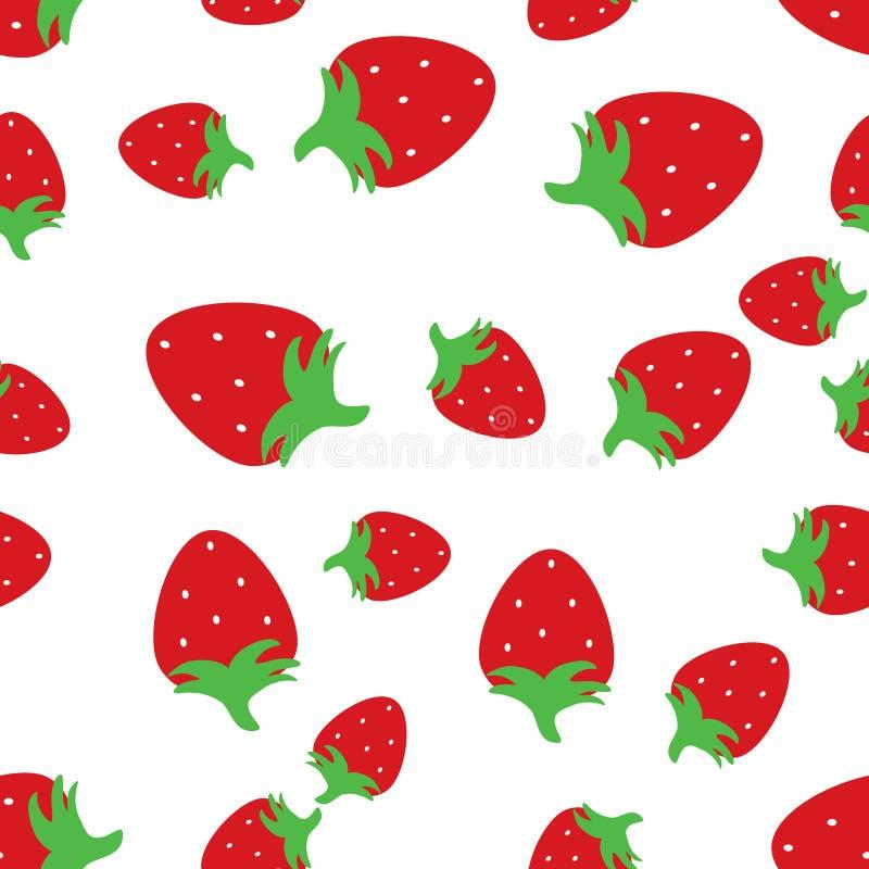 无缝的样式背景用红色草莓 库存例证