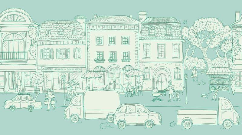 无缝的样式背景 也corel凹道例证向量 都市街道在历史的欧洲城市 人走 向量例证