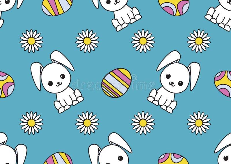 无缝的样式致力与兔子、被绘的鸡蛋和春黄菊的图象的复活节 五颜六色的例证 库存例证