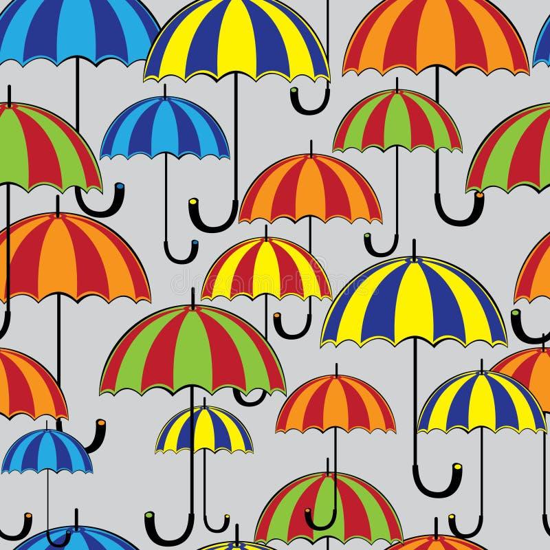 无缝的样式色的伞 皇族释放例证